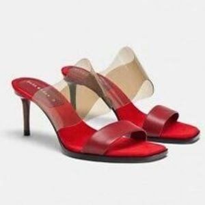 Zara vinyl high heel sandals 1322/301 red 3.1 heel
